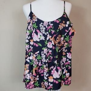 A NEW DAY a•n•d Floral Ruffle Adjustable Tank XL